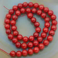 8MM Red Coral Smooth Round Beads Full Strand 48-50 Pieces