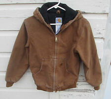 Carhartt Boys Duck Brown Insulated Quilted Hooded Jacket/Coat Size Large L 10-12