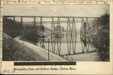 Clinton MA Dam & Railway Bridge c1905 Postcard