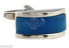 BRILLIANT SILVER & BLUE GEM BAND CUFFLINKS WITH GIFT BOX, uk seller FAST