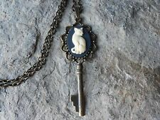 KITTY CAT ON BLACK CAMEO SKELETON KEY NECKLACE - UNIQUE - CAT LOVERS