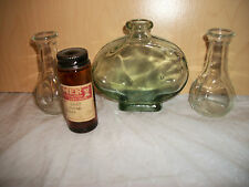 Lot of 4 Bottles - One Medicine Bottle Dated 1950 & 2 Clear and 1 Green Bottle
