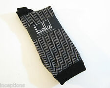 b.ella Ladies 72% Extra Fine Merino Wool  Crew Socks Audrey Herringbone Black