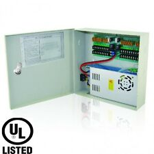 Power Supply CCTV Box 12V DC 18 channel 20 Amps, PTC, Key Lock, UL Listed