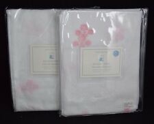 SET OF 2 POTTERY BARN KIDS BOUQUET SHEERS 44 X 84 PINK PANELS