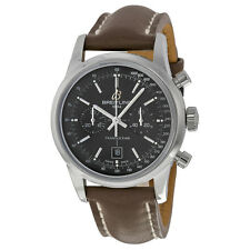 Breitling Transocean Black Dial Chronograph Brown Leather Unisex Watch