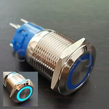 1Pcs Blue 12V LED 19mm Metal Latching Push Button Switch 1NO 1NC 5Pin