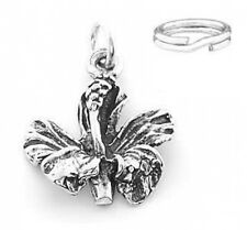 STERLING SILVER HIBISCUS FLOWER CHARM WITH ONE SPLIT RING