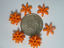 100 14mm Orange Star Starburst Snowflake Cartwheel Paddle Beads