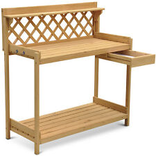 Wood Planter Potting Bench Outdoor Garden Planting Work Station Table
