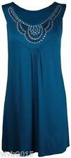 Teal Blue Stud Neck Tunic Sleeveless Vest Summer Plus Top Size Nouvelle 22 24