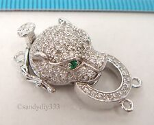 1x  Rhodium plated STERLING SILVER CZ JUNGLE LEOPARD 2-strand BOX CLASP #2312