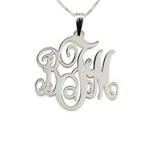 Monogram Necklace Medium 1″ Sterling Silver Personalized Initial Letter Pendant