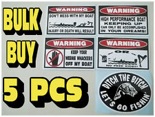 FUNNY WARNING BASS BOAT STICKERS FISH TROLLING MOTOR BAIT LURE TACKLE DECAL X5