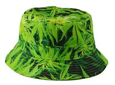 Mens Bucket Hat  Marijuana Pattern Outdoor Camping Floral Cap One Size(60) Green