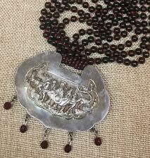 Antique Chinese Silver Pendant Long Garnet Bead Necklace