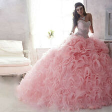 New Pink Formal Prom Party Quinceanera Pageant Ball Gown Wedding Dresses Custom
