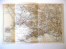 stampa antica mappa ANTIQUE OLD PRINT MAP PLAN CAMPANIA NAPOLI NEAPEL 1930