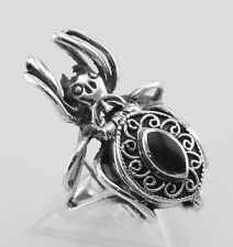 Spider Poison Ring with Onyx - Sterling Silver Size 9 - Free Shipping