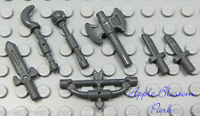NEW Lego Lot/7 Gray CASTLE WEAPONS - Minifig Axe Sword Knives Bow Arrow Tool Set