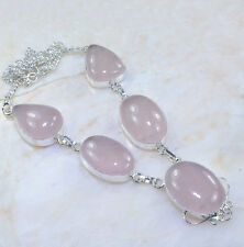 "Pink Rose Quartz Gemstone 100% Pure 925 Sterling Silver Necklace 19.5"" #AA878"