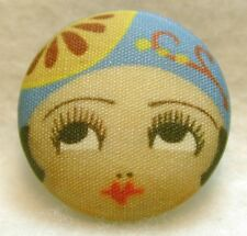 """1920s Flapper Girl Button Hand Printed Fabric """" Amy """""""
