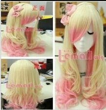 new light blonde pink mixed long curly cosplay full   Heat-resistant wig + gift