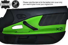 BLACK PERFORATED & GREEN LEATHER 2X DOOR CARD TRIM COVER FITS HONDA S2000 04-09