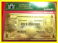 NED KELLY GOLD AUSTRALIA BANKNOTE 5 POUND BANK  NOTE COOMBS WILSON 1960 24KT COA