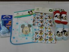 BABY Mickey Mouse Lot Of 6 Bib, 2booties, 2Hats, Pacifier case NIP NEW