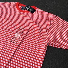 90s VTG NWT Striped GRUNGE T Shirt SURF Red L White SKATE 50/50 Soft Oversized