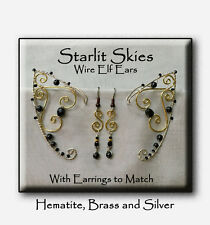 Hematite Wire Elf Ears, With Earrings to match, Sterling Silver Filled and Brass