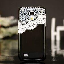Samsung Galaxy S4 mini i9195 Hard Case Handy Schutz Hülle Etui Perlen Schwarz 3D