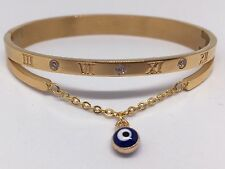 Womens Fashion Gold Plated Bangle with Evil Eye Pendant