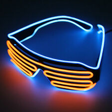 Hot Wire Neon LED Light Up Shutter Shaped Glasses for Costume Party Red+Blue