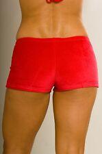 Furrkinni brand booty boy shorts - soft stretch velour hot pants, Red Size S