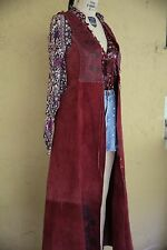 Vtg 60s 70s Char Leather Handpainted Whipstitch Boho Hippie Burgundy Vest Gilet