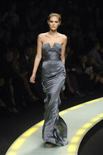 Versace Runway Silver Ruffle Dress IT40