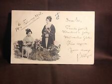 1905 Japanese Geisha Valentines Postcard Jolly Girls POSTED One Penny Edward VII