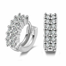 Beautiful 925 Sterling Silver Small Round Crystal Hinged Hoop Sleeper Earrings