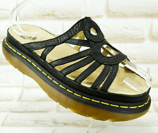 DR MARTENS Black Leather Womens Mules Platform Sandlas Cushion Size 6 UK 39 EU