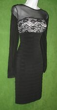London Times Black Ivory Lace Jersey Shutter Pleat Illusion Social Dress 12 $118
