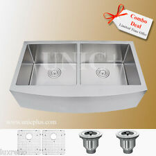 "Combo Deal Small Radius 36"" Small Radius Double Bowl Apron Kitchen Sink KAR3621D"