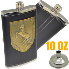 10OZ Stainless Steel Hip Flask Large Capacity Horse Type Shield Hip Flask