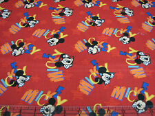 1 Yard Quilt Cotton Fabric - Springs Disney Mickey Mouse Out to Play Red