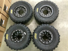 Hiper CF1 Beadlock Rims ITP Holeshot MXR6 Tires Front/Rear MX Kit YFZ450 Raptor
