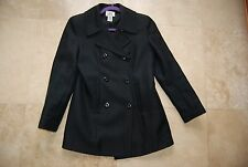 Black A/X ARMANI EXCHANGE Double Breasted Lined Short Coat Long Jacket Small
