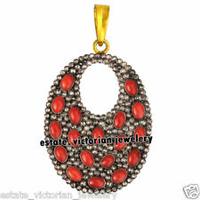 Estate Vintage 3.95ct Rose Cut Diamond Jewelry Coral 925 Sterling Silver Pendant