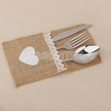 HESSIAN CUTLERY HOLDERS HEART LACE WEDDING TABLE DECORATION BURLAP HOLDER