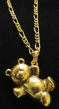 Dangling Teddy Bear Necklace 24 Karat Gold Plate 18 Inch Figaro Chain